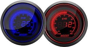 "Paddsun Turbo Boost Press Pressure Vacuum Gauge Metet12V Car Blue Red LED Light Tint Lens LCD Screen for Auto Car 2"" 52mm / 0~30PSI"
