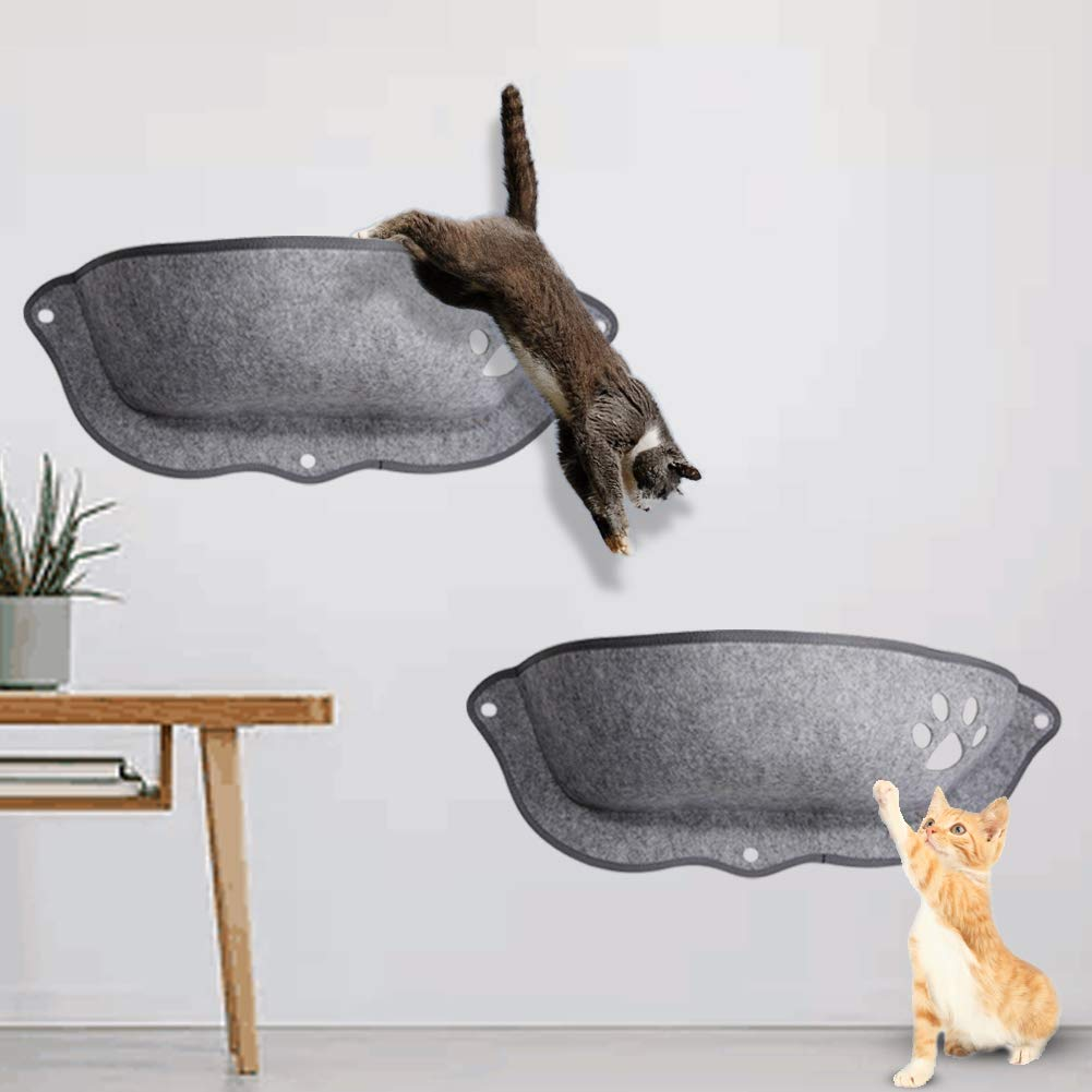 winemana Cat Window Hammock (26'' x 10.6'' x 8.2''), Sunny Seat, Cat Beds Perch, Kitty Ledge - Mount on Any Window or Wall, 2 Pack (Gray) by winemana