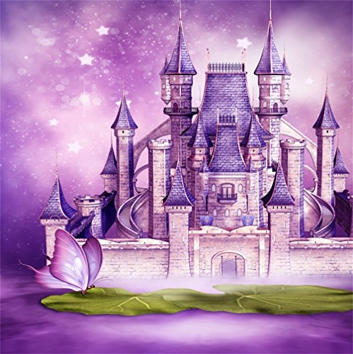 - CSFOTO 5x5ft Background for Dreamy Castle Fairytale Big Butterfly Fantasy Purple Photography Backdrop Starry Childhood Prince Princess Kid Children Portrait Photo Studio Props Wallpaper