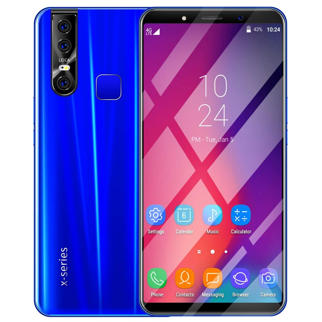 Unlocked Smartphone - 6.3'' HD+ 18:9 LCD Full Screen 3G Phone 8MP+16MP Camera Android 9.1 Call Mobile Phone,Octa Core,Face ID, Fingerprint,GPS,WIFI,Dual Card (X27 Plus, Blue) by Dacawin_Smart Phones