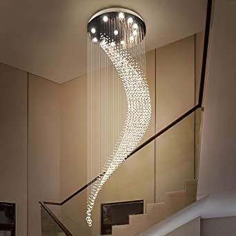 Moderna escalera de caracol dúplex Araña de cristal Iluminación Luna Araña larga Villa Hall Línea colgante Lámpara-Dia80 H300cm_Cold Blanco: Amazon.es: Iluminación