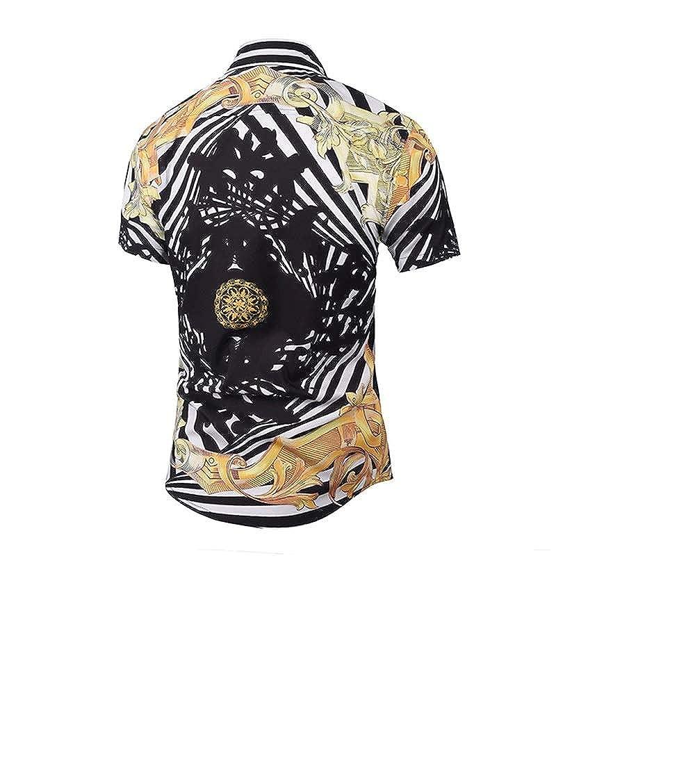 JarilnMo Men Luxury Print Fashion Dress Shirts Short Sleeve Button up with Free Bracelet