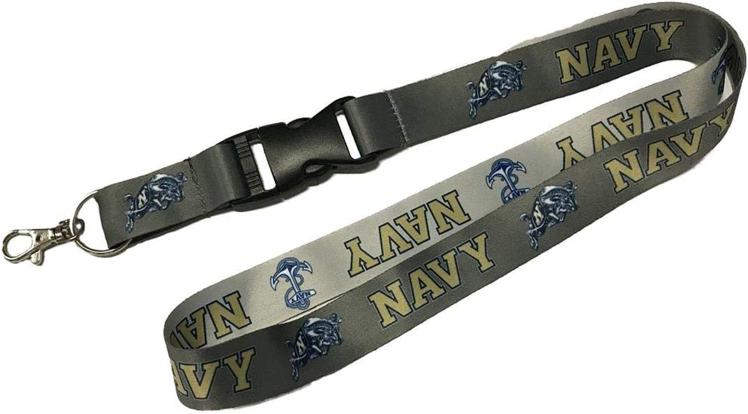 23 inches Long 1 inch Wide PSG U S Naval Academy Midshipmen Premium Charcoal Edition Lanyard W//Detachable Buckle