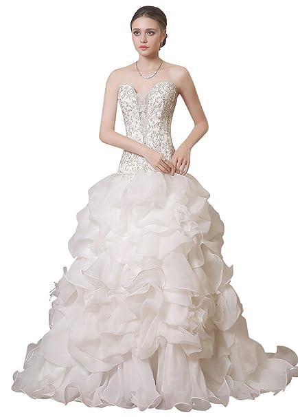 Adasbridal-Preciosa vestidos de novia de organza de raso de escote corazon de A-