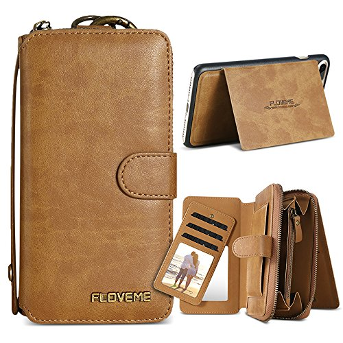 Wallet Flip Leather Case with Card Bag Holder for iPhone 6 Plus/6s Plus Brown - 2