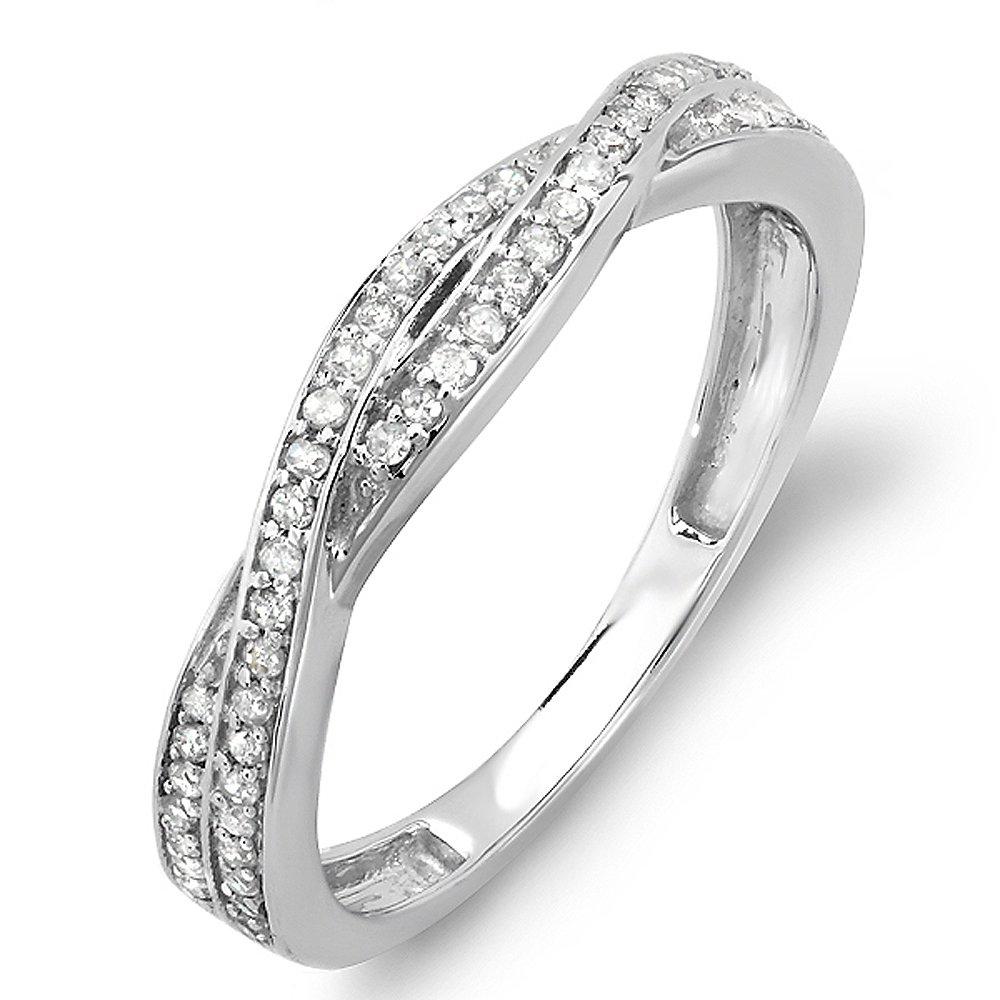 Dazzlingrock Collection 0.25 Carat (ctw) 10K Round Diamond Wedding Band Swirl Matching Ring 1/4 CT, White Gold, Size 7 by Dazzlingrock Collection