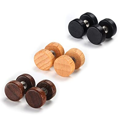 e9bf9c891 CheersLife 3 Pairs Stylish Studs Earrings (Set of 6) 10mm Hypoallergenic  Titanium Steel Ear Piercing Set Plugs Tunnel Wooden Color for Men Women: ...