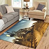 Love Nature Sweet Home Stores Collection Custom Vintage Steam engine locomotive train Area Rug 7'x5' Indoor Soft Carpet