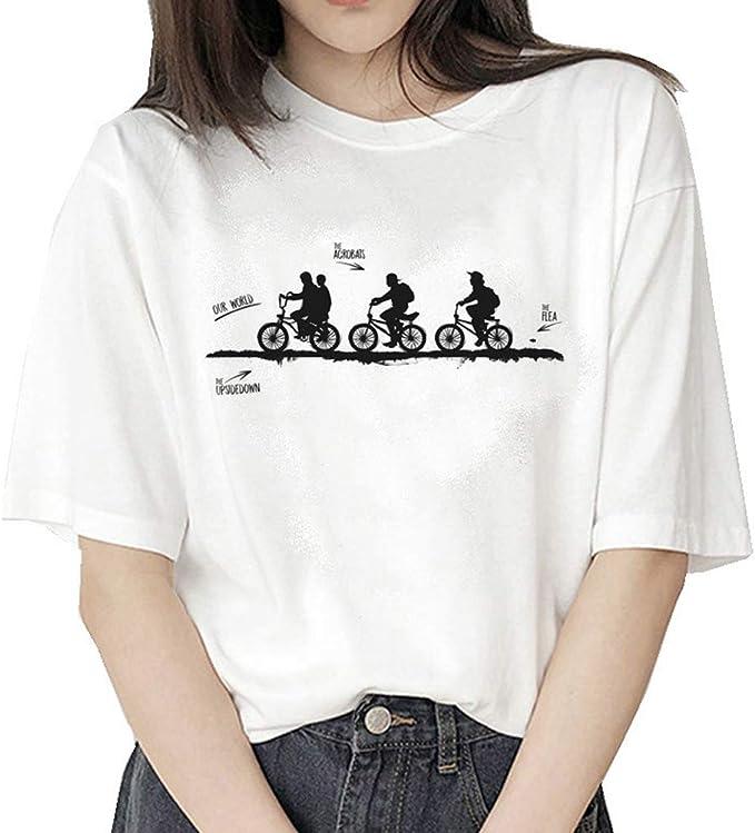 Stranger Things Maniche Corte Maglia con Stampa Lettera Estate Tee T-Shirt Camicia Tops Camicetta Maglietta da Ragazza Stranger Things Maglietta per Donna