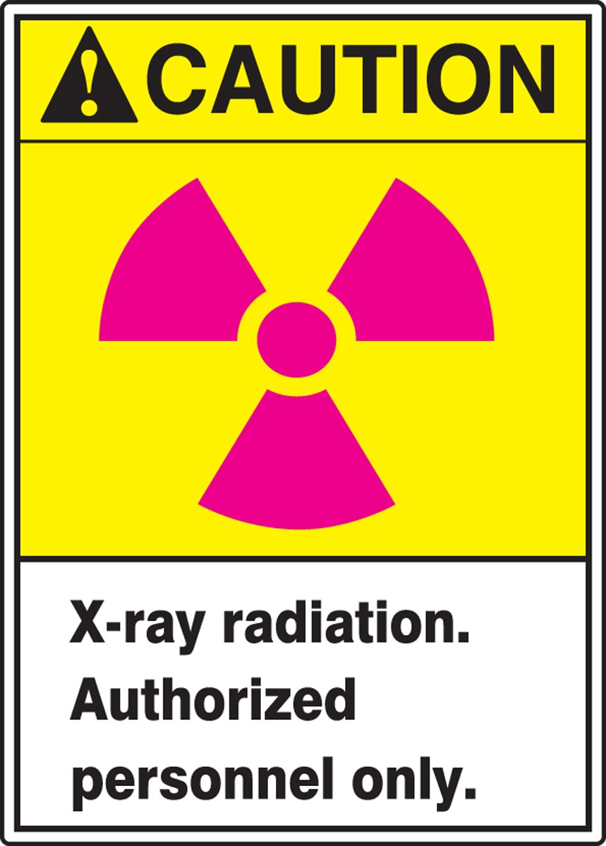 Magenta//Black//Yellow on White LegendCAUTION X-RAY RADIATION AUTHORIZED PERSONNEL Accuform MRAD638XV Adhesive Dura-Vinyl Sign 14 Length x 10 Width x 0.006 Thickness