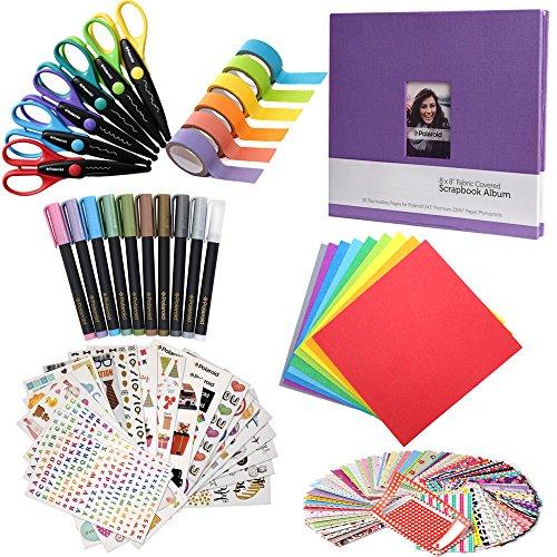 Scrapbook Elite Colorful Bundle - 8x8' Scrapbook + 100 Sticker Frames + 10 Metallic Markers + 6 Scissors + Color Paper + Washi Tape For HP Sprocket, LG, Prynt, LifePrint Printer Projects