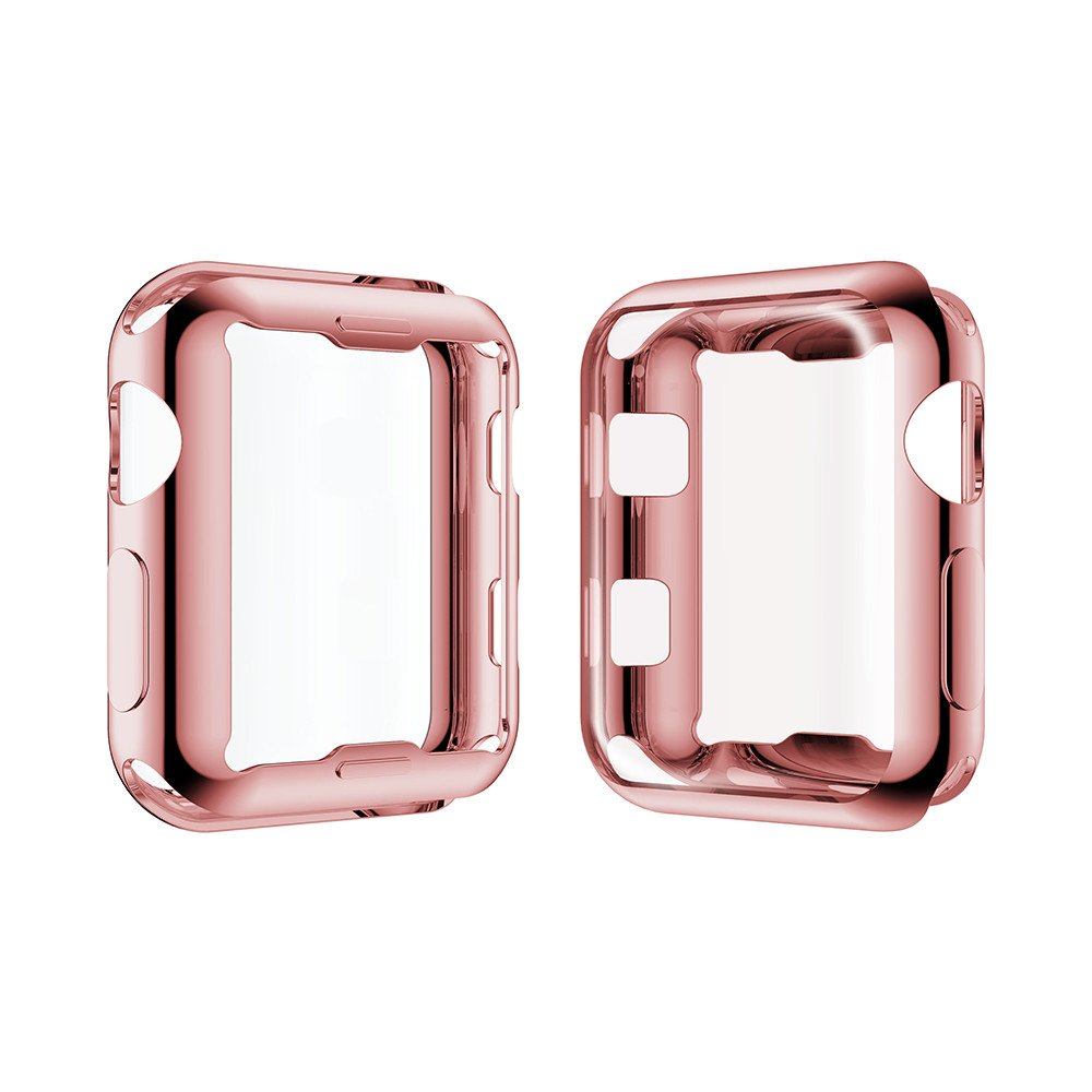 Smiling Apple Watch 3 Case Buit in TPU Screen Protector All-Around Protective Case High Defination Clear Ultra-Thin Cover for Apple Watch 38mm Series 3 and Series 2 (Rose-Pink, 38mm) by smiling (Image #2)