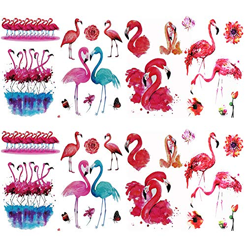 (Flamingos Temporary Tattoos Sticker (8 Sheets) by Yesallwas,Waterproof long lasting Fake temporary tattoos for Hawaiian Party Tropical Tattoos decorations gifts Supplies for Women Men Teens 5.9x8)
