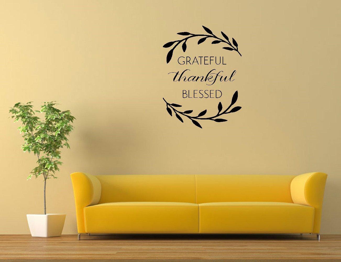 Amazon.com: fghhtf Grateful Thankful Blessed (leaves) Vinyl Wall ...