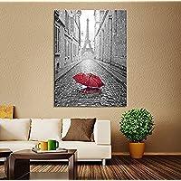 Proud Of Queen Canvas Print Red Umbrella on Paris Street Paris France Canvas Art Red Umbrella in Paris Road Canvas Print Eiffel Tower Canvas Print