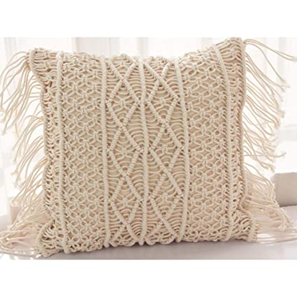 Cotton Thread Rope Hand-Woven Tassel Pillow - Bohemian Pillowcase Without Pillow Core (B)