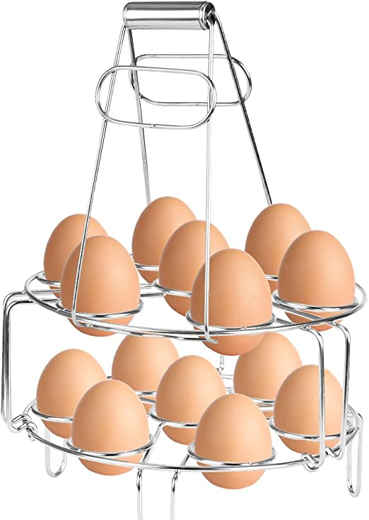 Amazon.com: szuah apilable huevo Steamer rack con agarre de ...