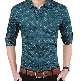 Generic Men's Dot Lapel Stylish Long Sleeve Comfy Dress Shirt Tunic Blackish Green M