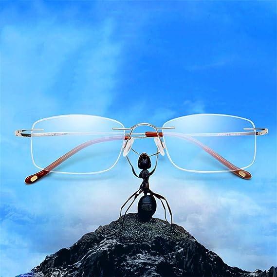 4b3542de0f KOMNY Gafas de Lectura BLU-Ray Macho lejos y Cerca de Doble Uso Lentes de  Lectura cómodos ultraligeros Gafas HD Oro Femenino Multi-Foco Anti-Azul  Claro Peso ...