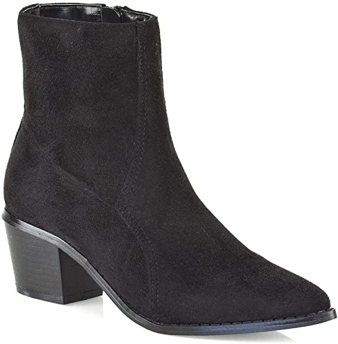 Womens Mid Heel Ankle Boots Shoes