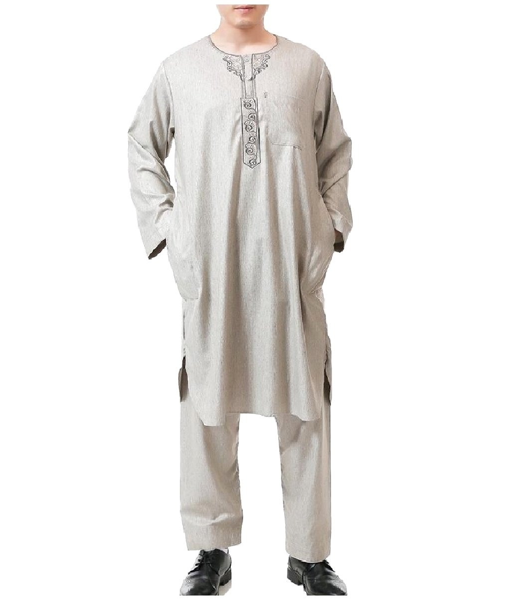 Coolred Men Islamic Embroidery Summer Back Cotton Muslim Salwar Suit Sets Khaki 54