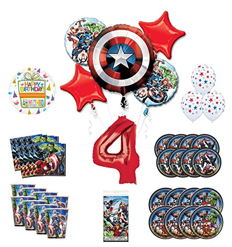 Mayflower Products Avengers 4th Birthday Party Supplies and 8 Guest Balloon Decoration -