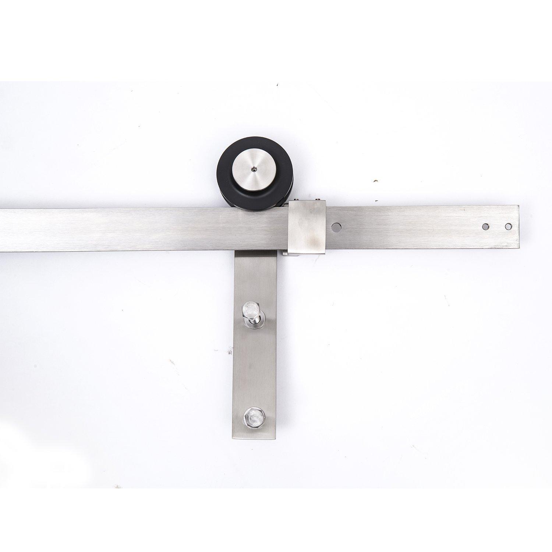 amazoncom homcom modern 6u0027 interior sliding barn door kit hardware set flat stainless steel home improvement