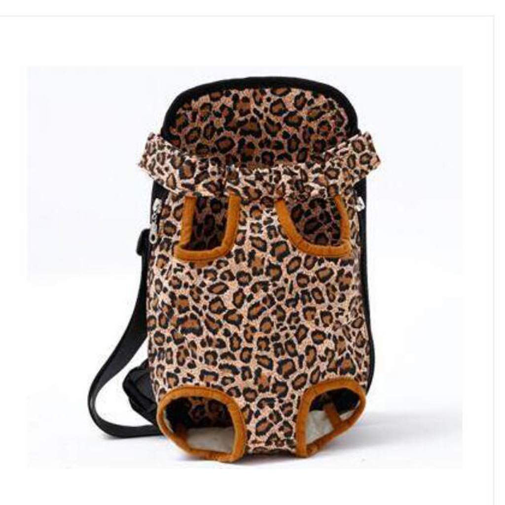 2338CM ZMXD Pet Bag, Leopard Yellow Cat Dog Backpack Breathable Backpack Chest Bag Out Portable Canvas 3.5-9KG (Size   23  38CM)