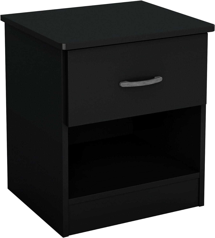 South Shore Libra 1 Drawer Nightstand Pure Black Furniture Decor