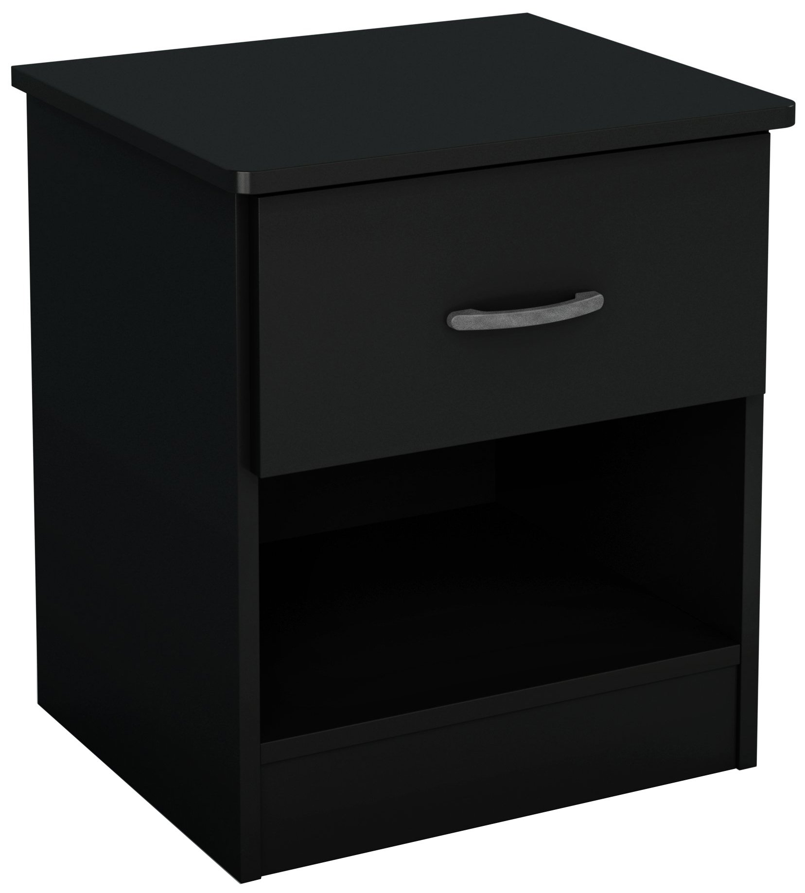 South Shore Libra 1-Drawer Nightstand, Pure Black with Metal Handle
