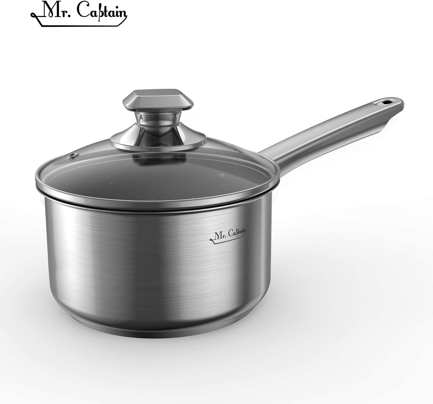 Mr Captain Nonstick Saucepan With Lid, 2 Quart 18/10 Stainless Steel Sauce Pan, Stone-Derived Non-Stick Granite Coating Small Pot Induction Compatible Dishwasher Safe,Oven Safe
