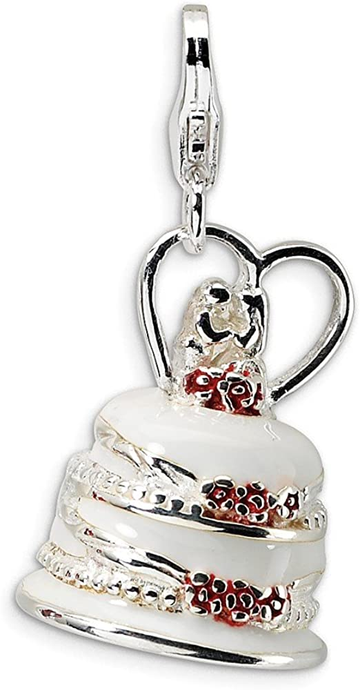 Sterling Silver 3-D Enameled Wedding Cake w//Lobster Clasp Charm