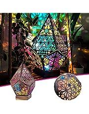 PEALOV Polar Star stor golvlampa, bohemisk golvlampa, LED färgglada diamantlampor, färgglada 3D-projektion ihålig lampa, bordslampor hantverk gåvor, geometrisk lampdekoration, för hem, fest