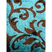 CHIC RUGZ Lo La 003 Modern Turquoise Brown Hand Tufted Area Shag Rug, 2 x 3