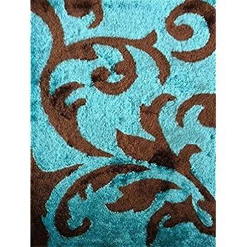 Amazon Com Turquoise Gray Modern Hand Carved Shag Area