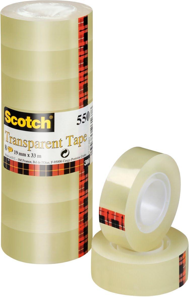 3M Scotch 550 - Pack de cintas adhesivas, 19 mm x 33 m, transparente