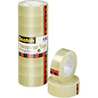 Scotch Pack de 8 Rouleaux de Ruban Adhésif Transparent 550 19mm x 33 m