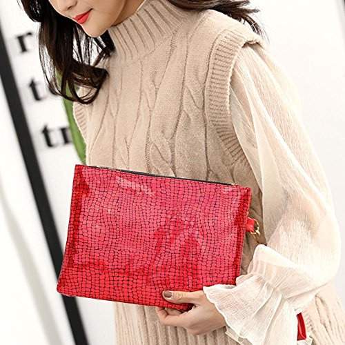 Red Stone Lady Women Domybest PU Sequins Party Wallet Handbag Purse Clutch Glitter qUxApSw