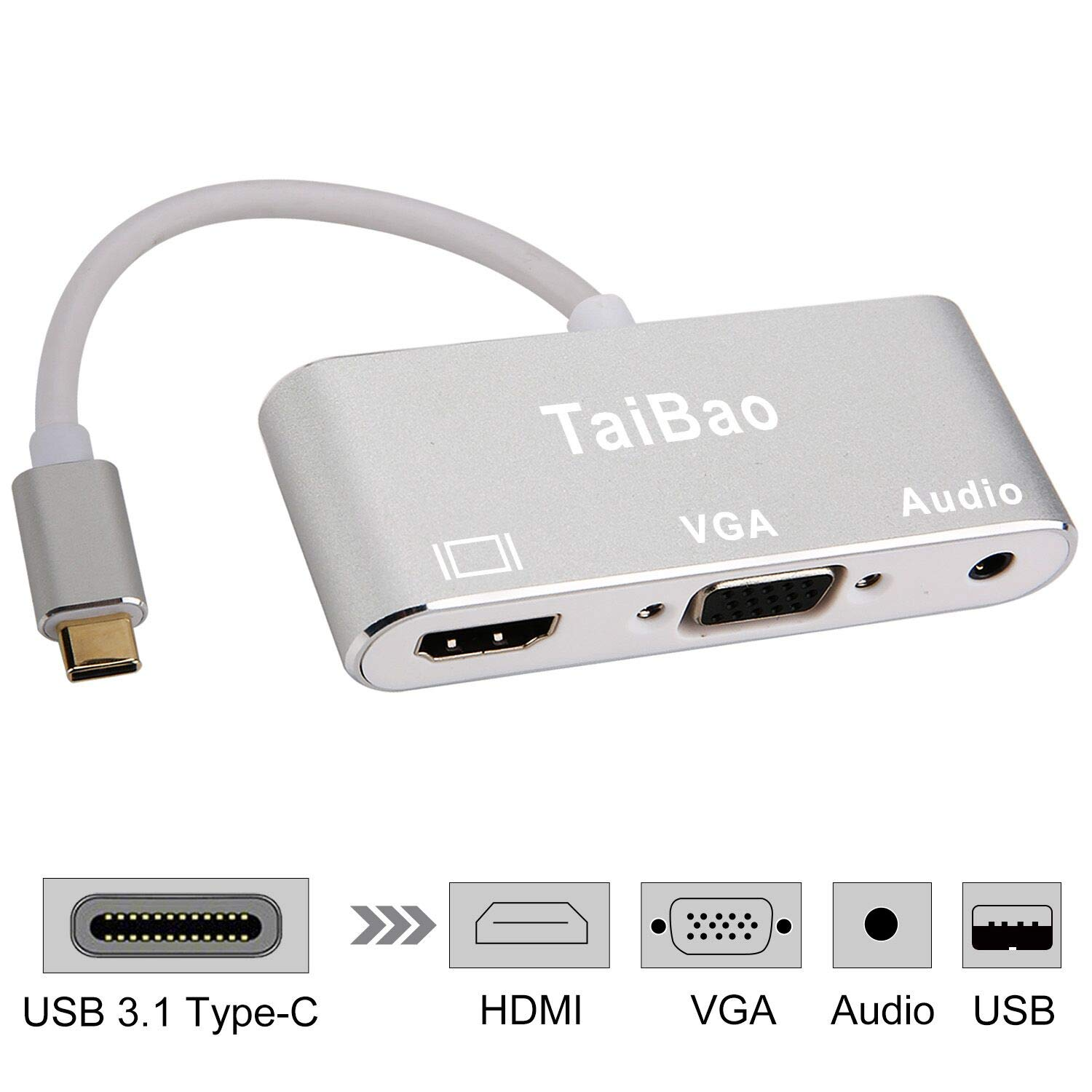 USB C to HDMI VGA Adapter, TaiBao USB Type C to HDMI VGA Adapter with Audio Multi Monitor Display for MacBook Pro 2017/Samsung Galaxy S8/S8 Plus/S9/Note 8/Dell Etc.