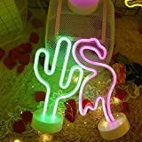 Cactus Neon Sign Night Light Lamp with Holder Base