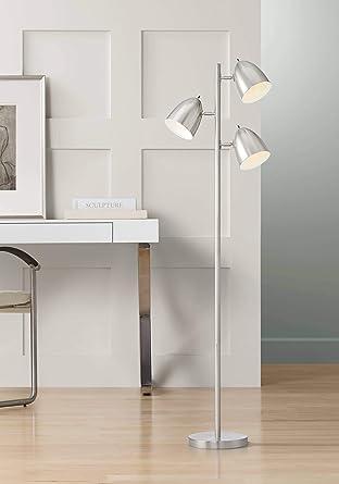 Aaron Modern Retro Floor Lamp 3-Light Tree Brushed Nickel Swivel Heads for  Living Room Reading Bedroom Office - 360 Lighting