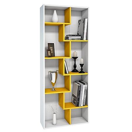 Amazon.com: Mia Mobili Terra Zig Zag 8 Shelf Bookshelf Organizer ...