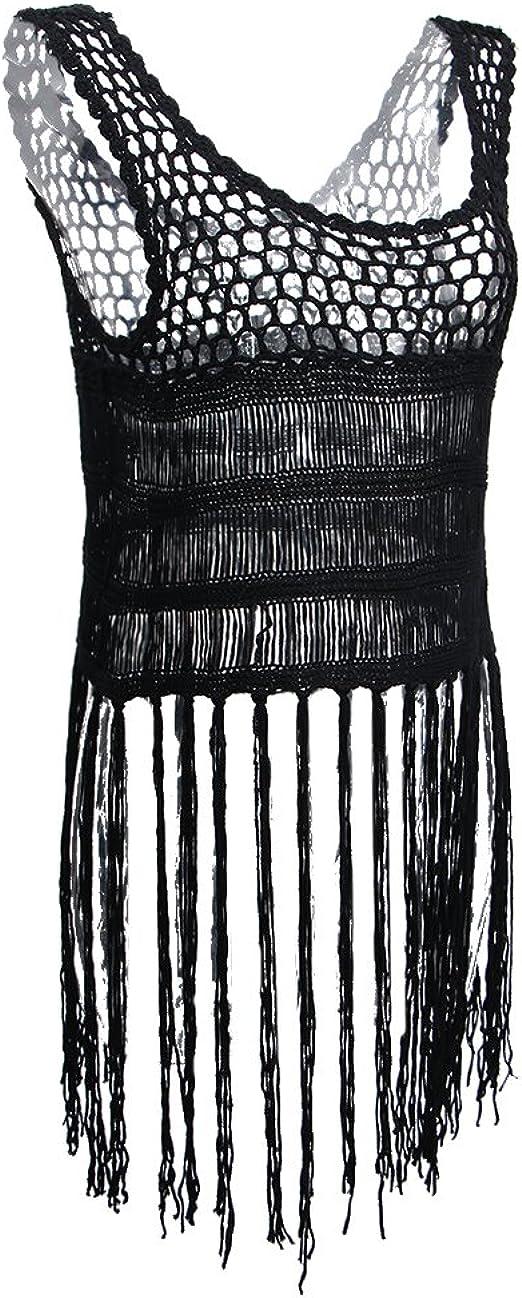 TALLA Único. MagiDeal Blusa Tejida A Ganchillo Borla Flecos Bordado Camisón de Tanque de Mujer Trajes de Baño