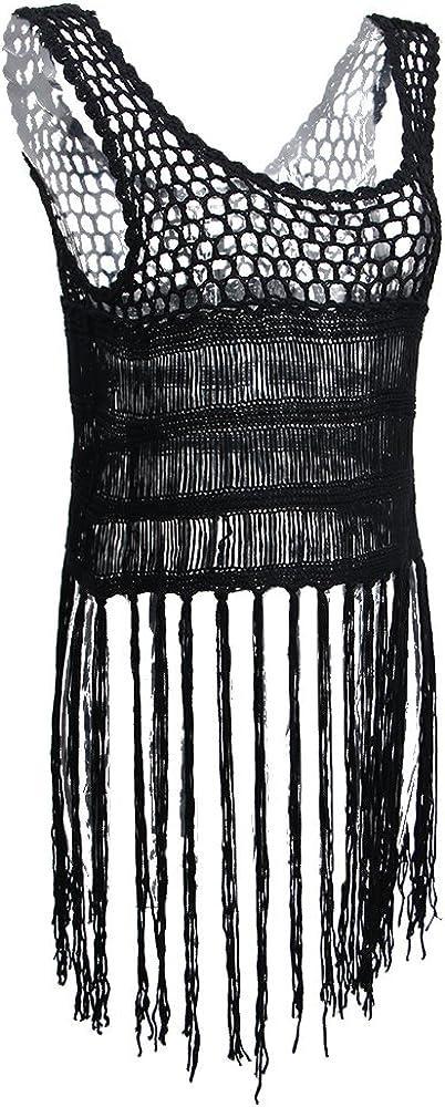 D DOLITY Blusa Tejida A Ganchillo Borla Flecos Bordado Vestido Bodycon Camisetas Manga Larga Confortable Suave - Negro, Único: Amazon.es: Ropa y accesorios