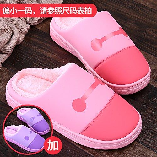 LaxBa Femmes Hommes chauds dhiver Chaussons peluche antiglisse intérieur Cotton-Padded purpleTwo Chaussures Slipper West + paires de 38/39