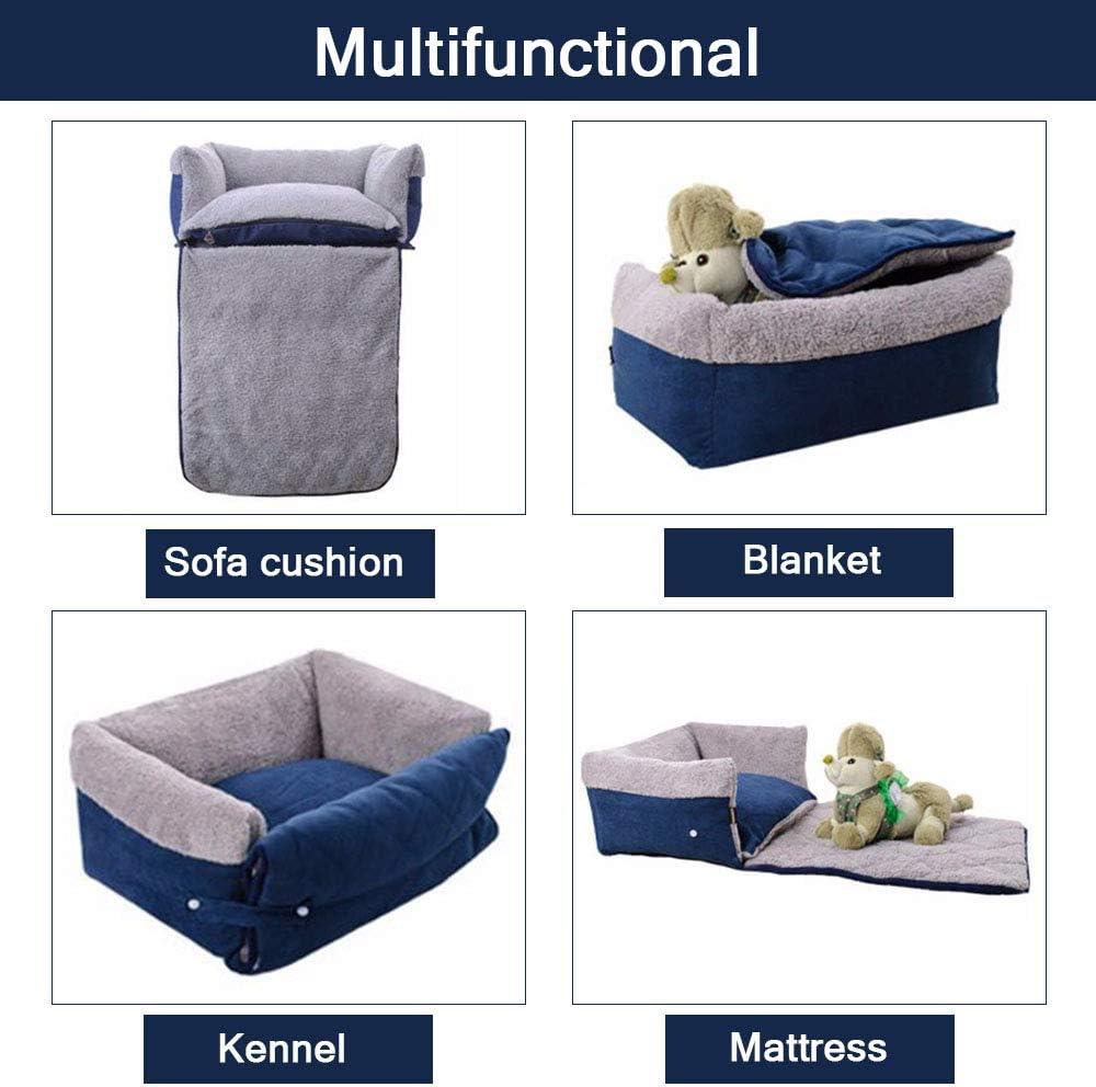FREESOO-Panier-Lit-pour-Chien-Chat-3-en-1-Super-Doux-Confortable-M-M-Bleu miniature 3