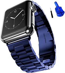 HUANLONG Compatible with Apple Watch Band, Solid Stainless Steel Metal Replacement Watchband Bracelet with Compatible with iWatch Series 1/2/3/4/5(Blue 42mm)