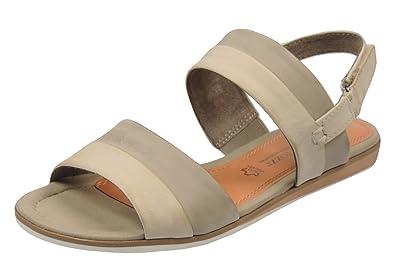 28118-22 Damen Sandalen Leder, Beige, Größe 36 Marco Tozzi