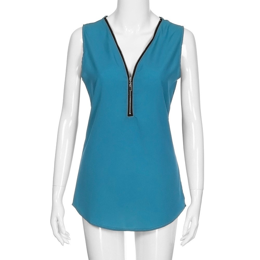 Portazai Women Tank Tops Cross Back Hem Layed Zipper V-Neck Solid Sleeveless Blouses Tunics Tops Casual Tee Shirts