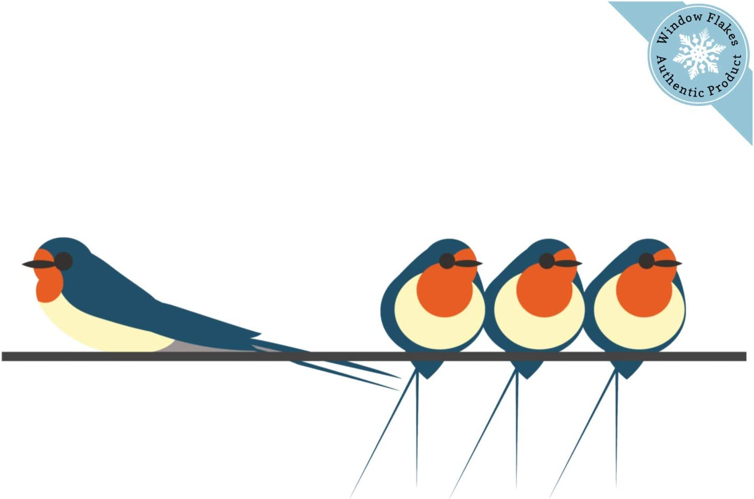 4 Swallows on a Wire Window Clings for Glass Windows and Doors | Window Decals for Birds Strikes | Anti Collision Window Stickers Decor | Decorative Bird Window Decals for Sliding Glass Doors